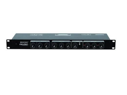 Omnitronic EM-260B 19 inch mengpaneel Aantal kanalen:6