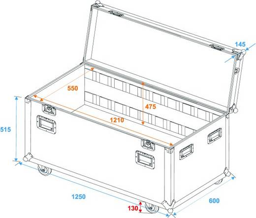 Flightcase Roadinger Universal Tourcase (l x b x h) 620 x