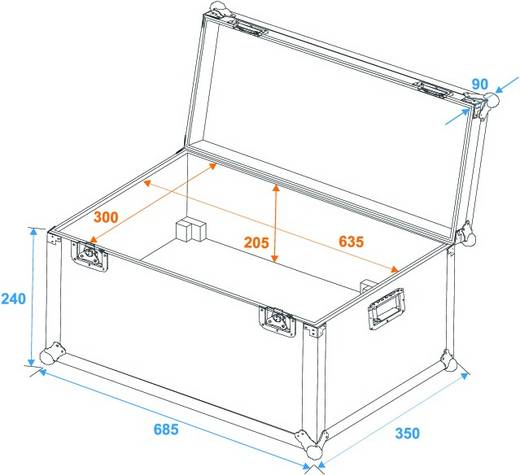Flightcase 31000105 (l x b x h) 370 x 710 x 330 mm