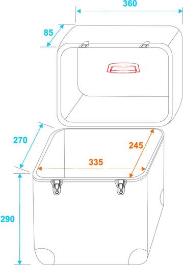 Plattencase Aluminium Roadinger Flightcase (l x b x h) 360 x 360 x 260 mm