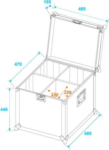 Flightcase Roadinger PAR-56 (l x b x h) 490 x 505 x 540 mm