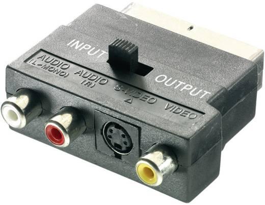 Adapter SCART / Cinch / S-Video [1x SCART-stekker - 3x Cinch-koppeling, S-video bus] Zwart Met omschakelaar SpeaKa Profe