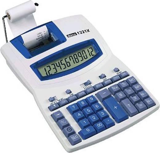 Ibico bureaurekenmachine met printfunctie 1221 X/IB410055 lichtgrijs/blauw 12-cijferig