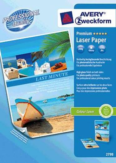 Avery-Zweckform Premium Laser Papier hochglänzend Laserprintpapier DIN A4 200 g/m² 100 vellen Wit