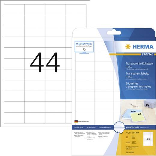 Herma SuperPrint etiketten/4680 48,3x25,4 mm transparant folie, mat inh. 1100 stuks