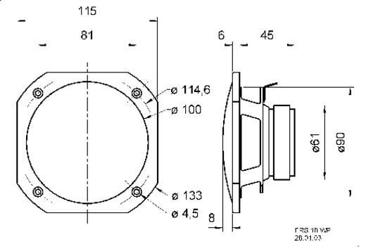 Visaton FRS 10 WP Inbouwluidspreker 50 W 8 Ω Wit 1 stuks