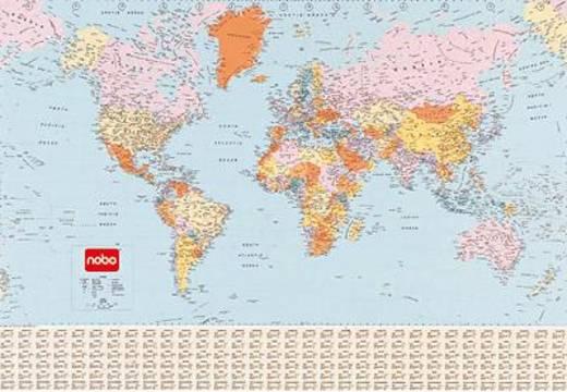 Nobo wereldkaart gelamineerd/1900209 120x83 cm 1:34.000.000