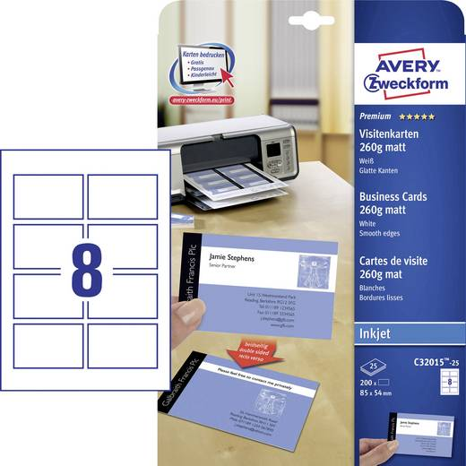 Avery-Zweckform Premium Visitenkarten, glatte Kanten Bedrukbare visitekaarten, gladde kant DIN A4 260 g/m² 200 stuks Wit