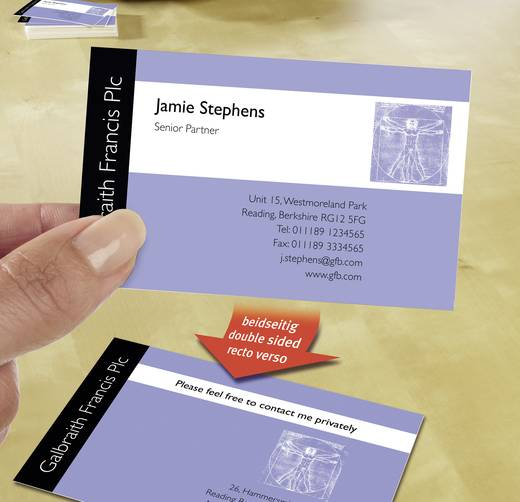 Avery-Zweckform Premium Bedrukbare visitekaarten, gladde kant DIN A4 260 g/m² 200 stuks Wit