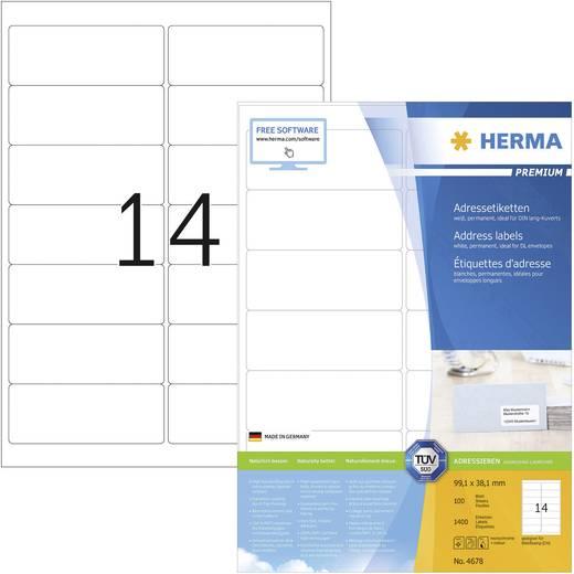 Herma 4678 Etiketten (A4) 99.1 x 38.1 mm Papier Wit 1400 stuks Permanent Adresetiketten Inkt, Laser, Kopie