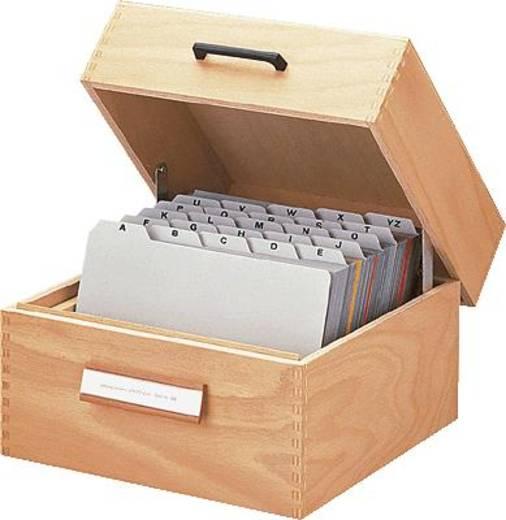 Han-kaartenbak van hout/506 A6 liggend hout naturel 193x250x144 mm