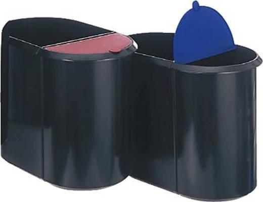Helit-prullenbakken/H6110092 20 l + 9 l zwart/rood