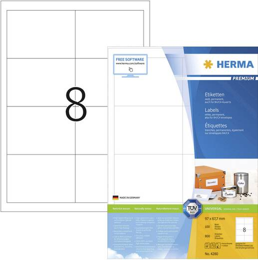 Herma SuperPrint-etiketten/4280 96,5x67,7 mm wit rondomlopende rand 800 stuks