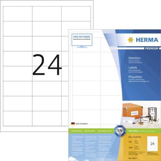 HERMA SuperPrint etiketten/4614 66,0 x 33,8 mm wit omlopende rand inhoud: 4800 stuks