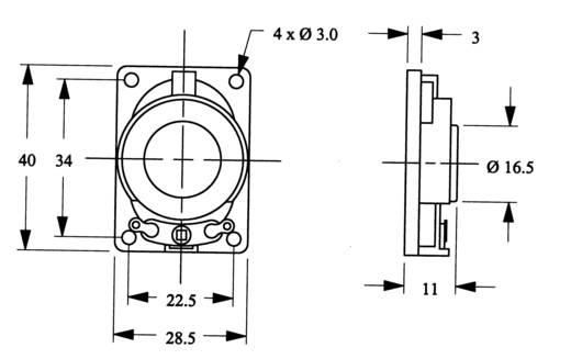 Mini-luidspreker LSM-SK serie Geluidsontwikkeling: 83 dB 8 Ω Nominale belastbaarheid: 2000 mW 350 Hz Inhoud: 1 stuks