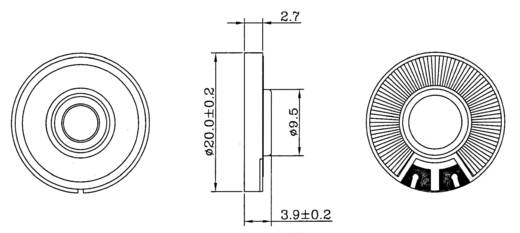 Miniatuurluidspreker Geluidsontwikkeling: 88 dB 0.200 W LSF-20 M/N, 8 OHM 1 stuks