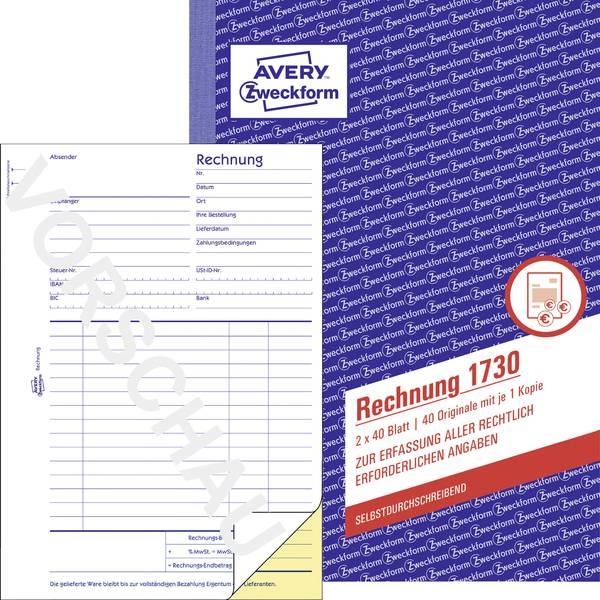 Zweckform factuur/1730 A5 hoog wit/geel zelfdoorschrijvend inh