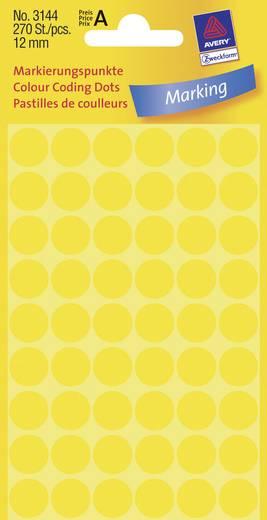 Avery-Zweckform 3144 Etiketten (handbeschrijving) Ø 12 mm Papier Geel 270 stuks Permanent Etiketten voor markeringspunte