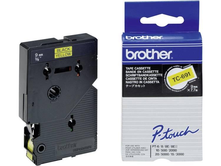 Labeltape Brother TC TC 691 Tapekleur Geel TekstkleurZwart 9 mm 7.7 m