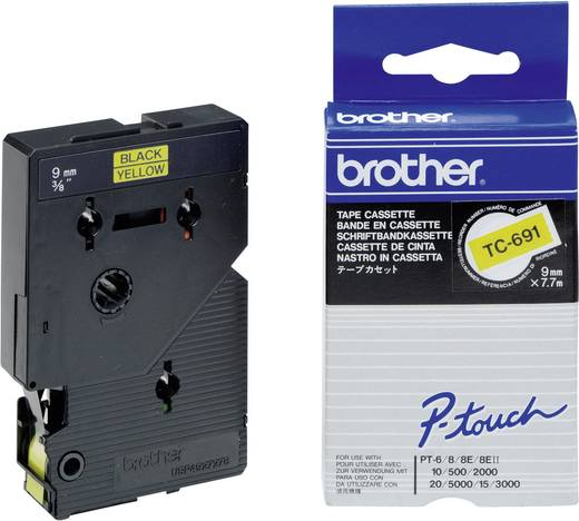 Brother TC-691 Labeltape Tapekleur: Geel Tekstkleur:Zwart 9 mm 7.7 m