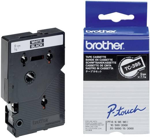 Brother TC-395 Labeltape Tapekleur: Zwart Tekstkleur:Wit 9 mm 7.7 m