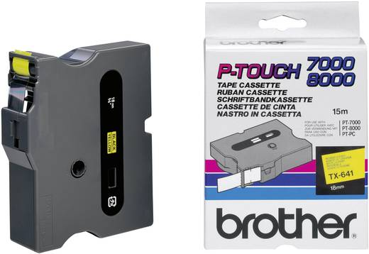 Brother TX-641 Labeltape Tapekleur: Geel Tekstkleur:Zwart 18 mm 15.4 m