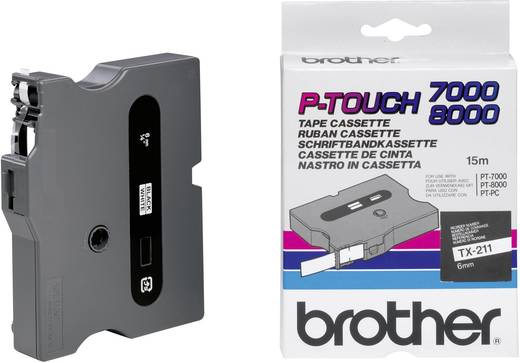 Brother TX-211 Labeltape Tapekleur: Wit Tekstkleur:Zwart 6 mm 15.4 m