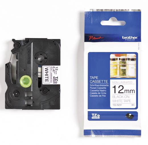 Brother TZe-N231 Doorlopende etikettenband Tapekleur: Wit Tekstkleur:Zwart 12 mm 8 m