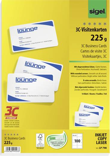 Bedrukbare visitekaarten, gladde kant Sigel LP798 85 x 55 mm 225 g/m² Helderwit 100 stuks