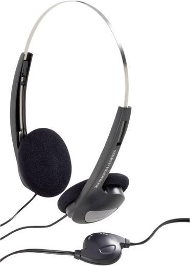 Basetech Koptelefoon CD-1000VR On Ear Volumeregeling, Lichtgewicht Zwart