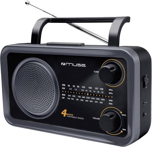 Muse M-05 DS FM Transistorradio AUX, Korte golf, Middengolf, FM Zwart