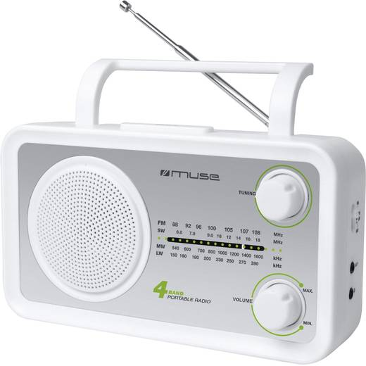 FM Transistorradio Muse M-05 SW AUX, Korte golf, Middengolf, FM Zilver, Wit
