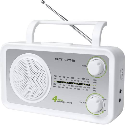 Muse M-05 WS FM Transistorradio AUX, Korte golf, Middengolf, FM Zilver, Wit
