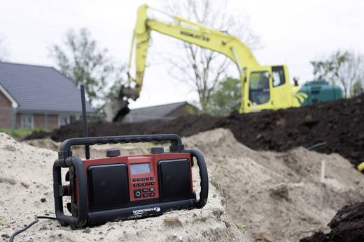 FM Bouwradio PerfectPro Workman bouwplaatsradio AUX, FM Spatwaterbestendig, Stofdicht, Stofvast Rood, Zwart
