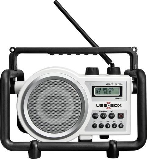 PerfectPro USB Box 2 FM Bouwradio AUX, SD, FM, USB Spatwaterbestendig, Stofdicht, Stofvast Wit
