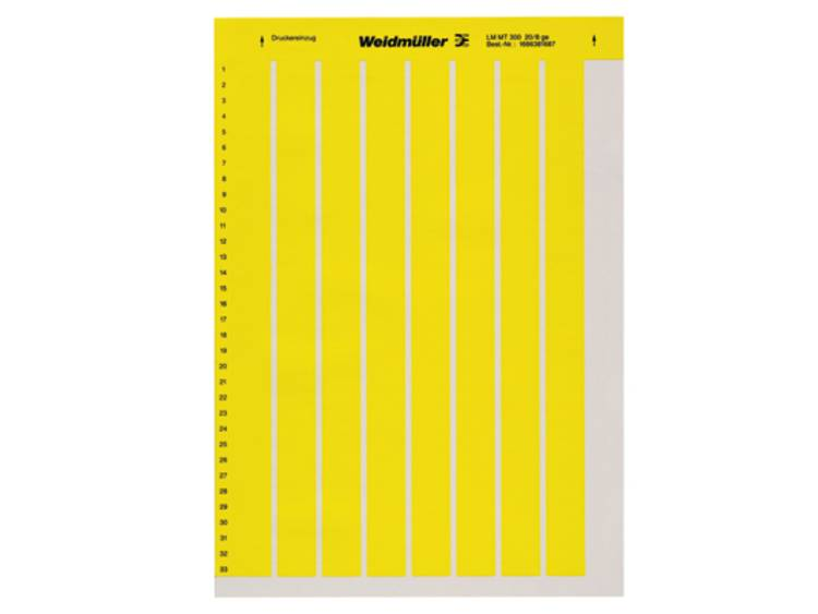 Labelprinter Montagemethode: Plakken Markeringsvlak: 26 x 10 mm Geel Weidmüller LM MT300 26X10 GE 1686401687 Aantal markeringen: 1560 10 stuks