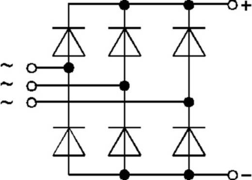 3-fasen vermogens-gelijkrichterbrug SKD Semikron SKD62/16 Soort behuizing SEMIPONT 3 I(FSM 50 Hz) 500 A U(RRM) 1600 V