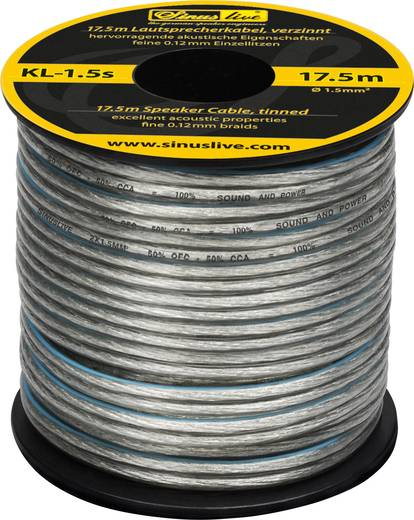 Sinuslive KL-1,5S Luidsprekerkabel 1 x 1.50 mm² Zilver 17.5 m
