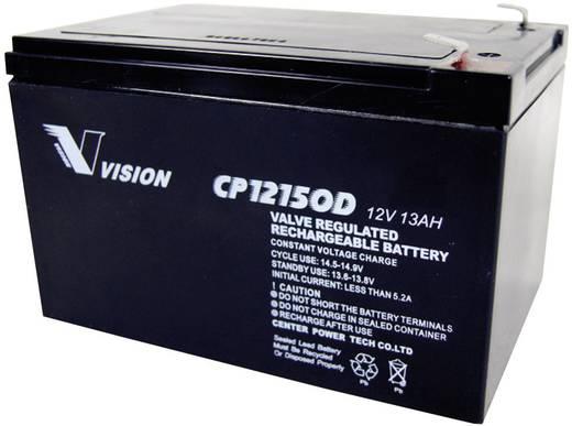 Vision Akkus CP12150D Loodaccu 12 V 13 Ah CP12150D Loodvlies (AGM) (b x h x d) 151 x 101 x 98 mm Kabelschoen 6.35 mm Onderhoudsvrij, Cyclusbestendig