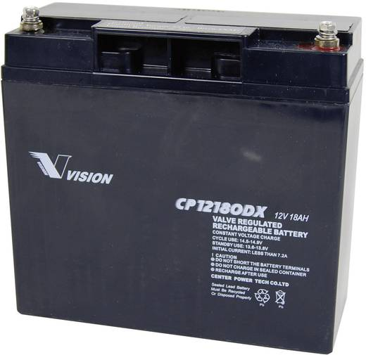 Vision Akkus CP12180DX Loodaccu 12 V 18 Ah CP12180DX Loodvlies (AGM) (b x h x d) 181 x 167 x 77 mm M5-schroefaansluiting Onderhoudsvrij, Cyclusbestendig