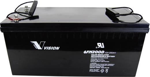 Vision Akkus 6FM200PX Loodaccu 12 V 200 Ah 6FM200DX Loodvlies (AGM) (b x h x d) 526 x 246 x 238 mm M8-schroefaansluiting