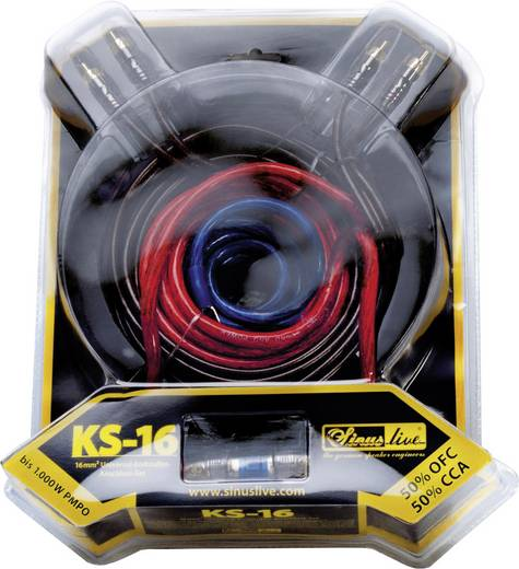 Sinuslive Car-HiFi versterker aansluitset 16 mm² KS-16