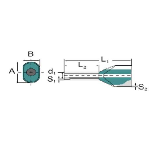 Weidmüller 9037360000 Dubbele adereindhuls 1 x 16 mm² x 16 mm Deels geïsoleerd Groen 50 stuks