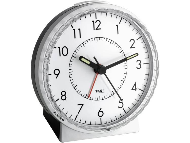 TFA 60.1010 Wekker Quartz Zilver Alarmtijden 1 Fluorescerende Wijzers