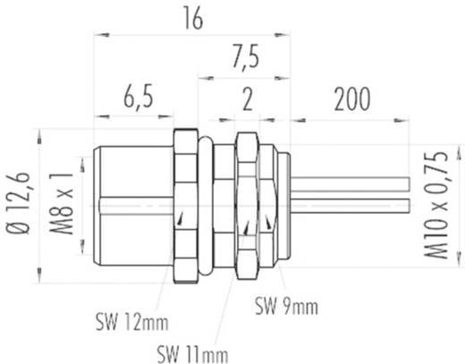 Binder 09 3418 00 03 M8 flensdoos met draad Aantal polen: 3 Inhoud: 1 stuks