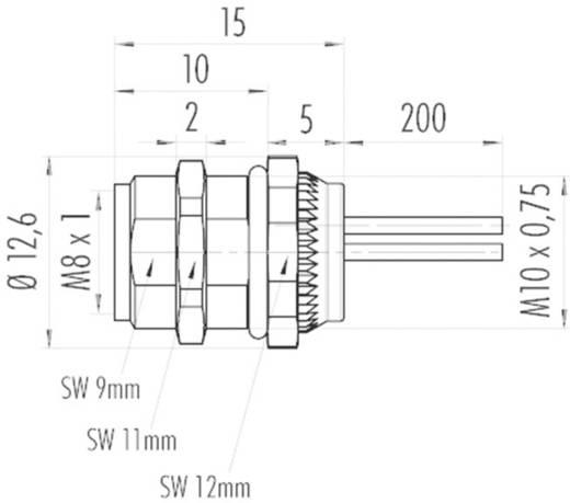 Binder 09 3418 86 03 M8 flensdoos, frontmontage, met draad Inhoud: 1 stuks
