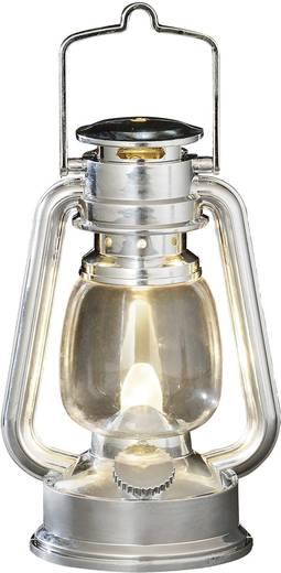LED Stormlantaarn, kunststof, zilverkleurig, 15.5cm, ook voor buitengebruik1 warm witte flakkerende LEDop batterij