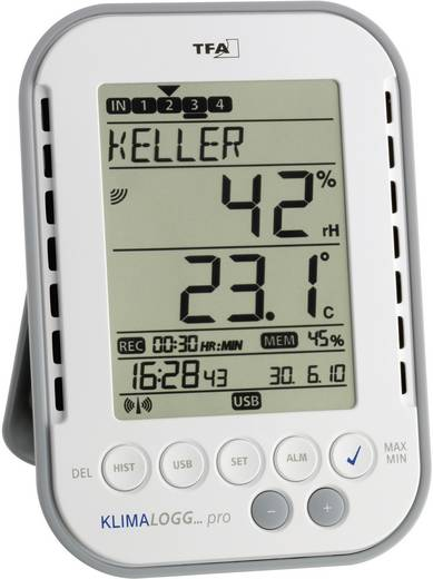Luchtvochtigheidsmeter (hygrometer) TFA KLIMALOGG PRO 1 % H