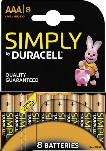 Duracell Simply LR03 AAA batterij (potlood) Alkaline (Alkali-mangaan) 1.5 V 8 stuks