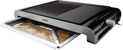 Philips Elektrische Tafelgrill HD4419/20 met handmatige temperatuursinstelling RVS, Zwart